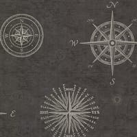 Brewster 2604-21215 Navigate Charcoal Vintage Compass Wallpaper - charcoal compass - N/A