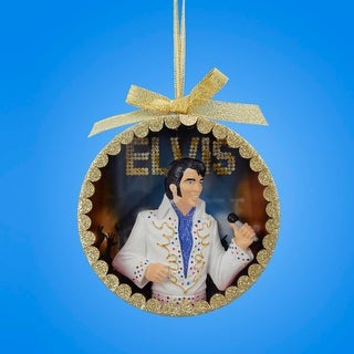 "4.5"" Gold Glittered Elvis Presley ""The King"" White Jumpsuit Performance Shadow Box Christmas Ornament"