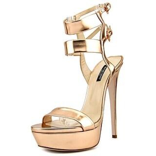Ruthie Davis Estelle Women Open Toe Patent Leather Gold Platform Sandal