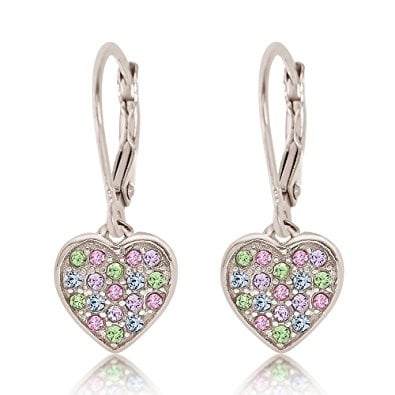 New 925 Sterling Silver White Gold Crystal Heart Leverback Children's Earrings