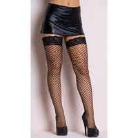 Diamond Net Thigh High With Lace Top, Lace Top Diamond Net Thigh High - One Size Fits Most