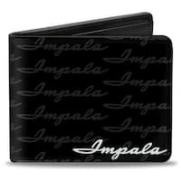 1962 Impala Script Emblem Repeat Black Silver Bi Fold Wallet - One Size Fits most