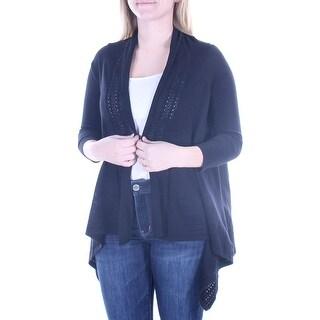 Womens Black 3/4 Sleeve Open Sweater Size S