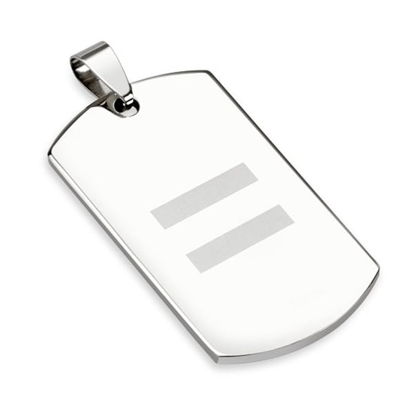 Equal Sign Laser Etched Stainless Steel Dogtag (25 mm Width)