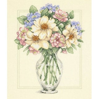 "Flowers In Tall Vase Counted Cross Stitch Kit-12""X14"" 14 Count"