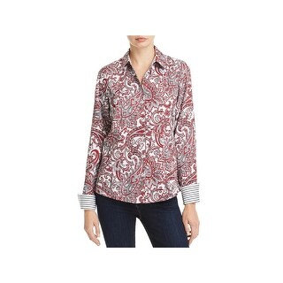 Foxcroft NYC Womens Lauren Button-Down Top Paisley Fitted