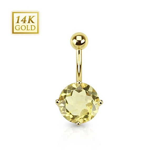 14 Karat Solid Yellow Gold Lemon Quartz Gemstone Round Prong Set Navel Belly Button Ring