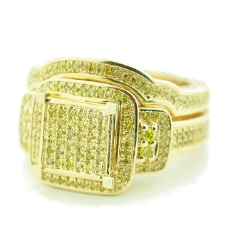 Yellow Diamond Bridal Set Canary 1/2ctw Engagement Ring and Band Set Extra Wide by Midwest Jewellery