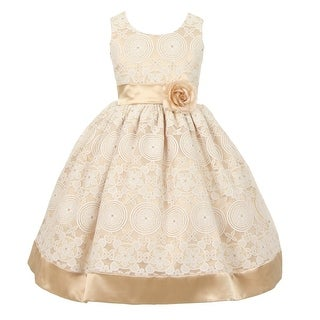 Good Girl Little Girls Champagne Burnout Organza Flower Girl Dress (3 options available)