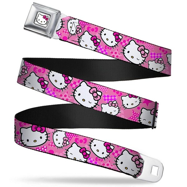 Hello Kitty Face W Pink Bow Full Color White Hello Kitty Expressions Seatbelt Belt