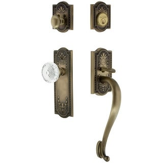 Nostalgic Warehouse MEACME_ESET_238_SG  Vintage Crystal Sectional Keyed Entry Handleset with Crystal Meadows Interior Knob, S