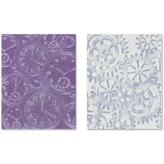 Sizzix Texture Fades A2 Embossing Folders 2/Pkg-Clock & Steampunk By Tim Holtz