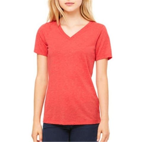 Bella 6405 Ladies Relaxed Jersey Short-Sleeve V-Neck Tee - Red TriBlend Small