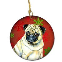 Pug Red Snowflake Holiday Christmas Ceramic Ornament