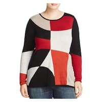 Nic + Zoe Womens Crewneck Sweater Geometric Asymmetrical
