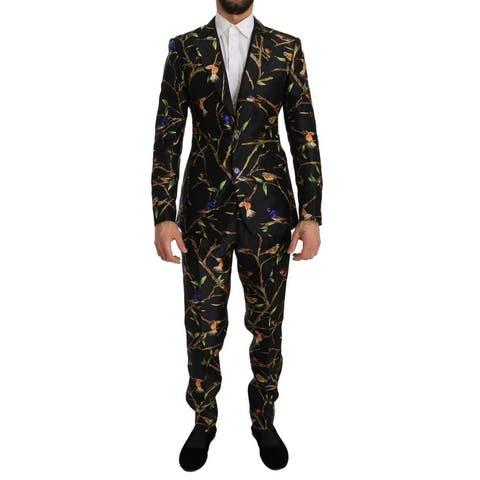 Dolce & Gabbana Black Bird Silk SICILIA Slim Fit Blazer Men's Suit - it46-s