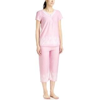 Body Touch Women's Pink Border Print Top/Capri Pajama Set