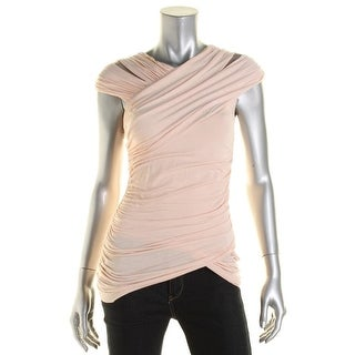 Bailey 44 Womens Peony Ruched Mesh Inset Blouse - S
