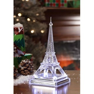 """Set of 2 LED Silver Mirror Base Crystal Clear Eiffel Towers Table Top Decor 7.9"""""""