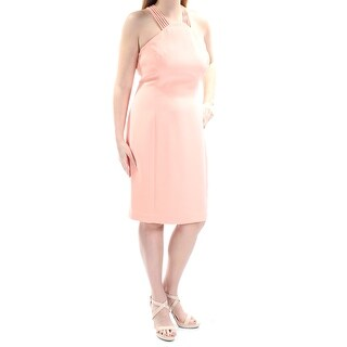 CALVIN KLEIN $159 Womens 1230 Orange Halter Sleeveless Sheath Prom Dress 12 B+B