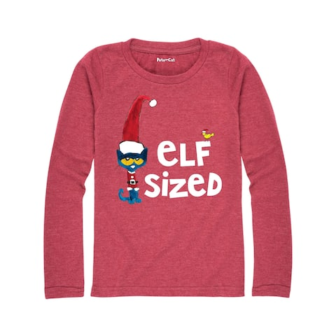 Pete The Cat Elf Sized (Or Elf In Training) - Youth Girl Long Sleeve Tee - HEATHER MAROON