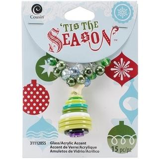 Tis The Season Accents-Green & White Tree Buttons 15/Pkg