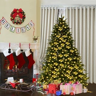 Costway 7Ft Pre-Lit Artificial Christmas Tree Hinged w/ 460 LED Lights & Pine Cones