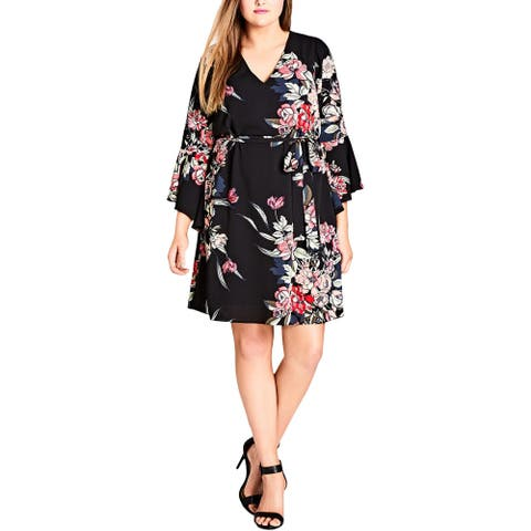 City Chic Womens Plus Casual Dress Floral Print Bell Sleeve