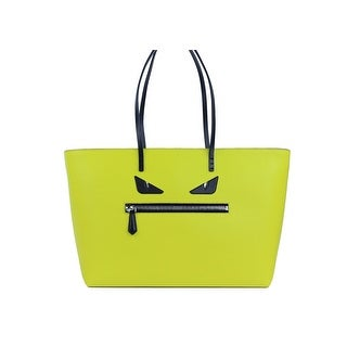 Fendi Monster Eyes Roll Big Yellow Leather Tote Bag