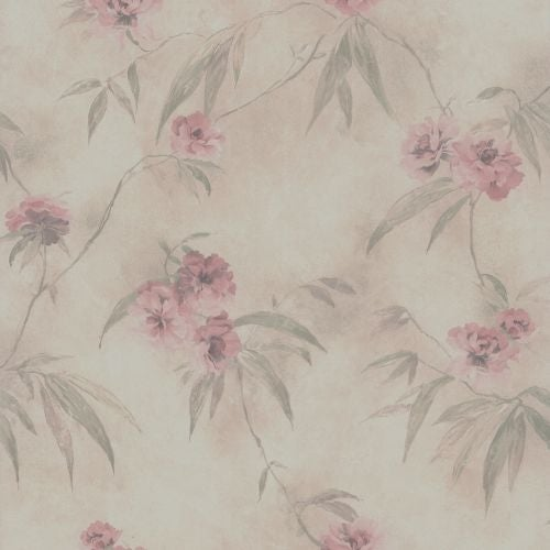 Brewster 347-64873 Segal Pink Textured Floral Trail Wallpaper