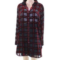 Foxcroft Black Womens Size 18W Plus Velvet Button Down Shirt