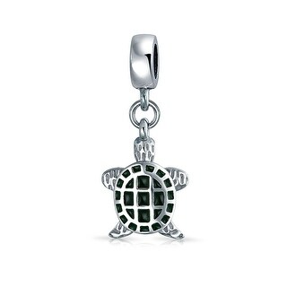 Bling Jewelry 925 Sterling Silver Green Turtle Dangle Charm Bead