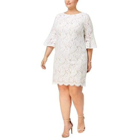 Jessica Howard Womens Plus Shirtdress Bell Sleeve Lace - 18W
