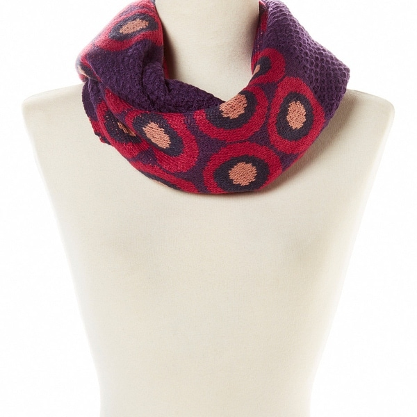 purple abstract design knit infinity scarf circle winter fall christmas gift women snow