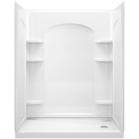 """Sterling 72180126 Ensemble 60"""" Four Piece Shower Module with Backer Boards, Right End Drain, and Corner Shelves"""