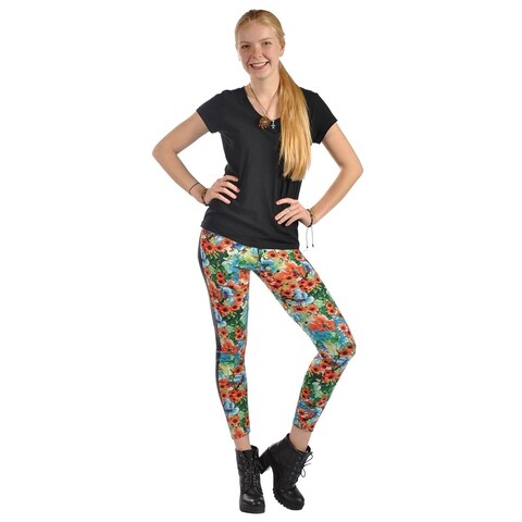 High Fashion Print Faux Leather Side Panel Stretched Leggings Floral Orange