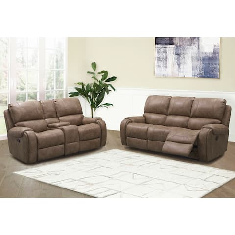 Abbyson Houston Fabric Manual Reclining Sofa and Loveseat Set