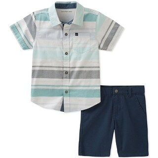 Calvin Klein Kids Boys 2T-4T Pocket Shirt And Short Set - Blue