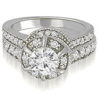 1.80 cttw. 14K White Gold Antique Style Halo Round Diamond Bridal Set
