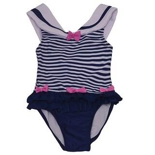 Solo International Baby Girls Navy White Bow Ruffle Stripes Swimsuit 18M