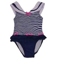 Solo International Little Girls Navy White Bow Ruffle Stripes Swimsuit 2T
