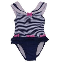 Solo International Little Girls Navy White Bow Ruffle Stripes Swimsuit 4T
