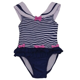 Solo International Little Girls Navy White Bow Ruffle Stripes Swimsuit 4T