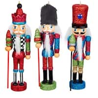Kurt Adler Hollywood Soldier Red Green Blue Nutcracker Ornaments Set of 3