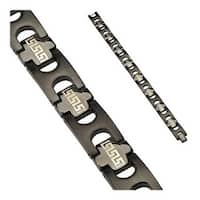 Stainless Steel Black Plated Tribal Link Logo Bracelet (15 mm) - 8.75 in