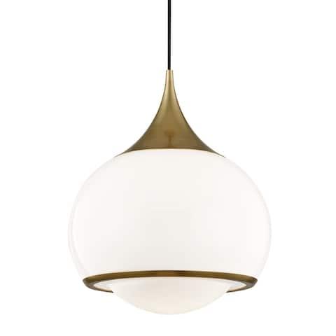 Mitzi by Hudson Valley Reese 1-light Aged Brass Large Pendant, Shiny Opal White Glass