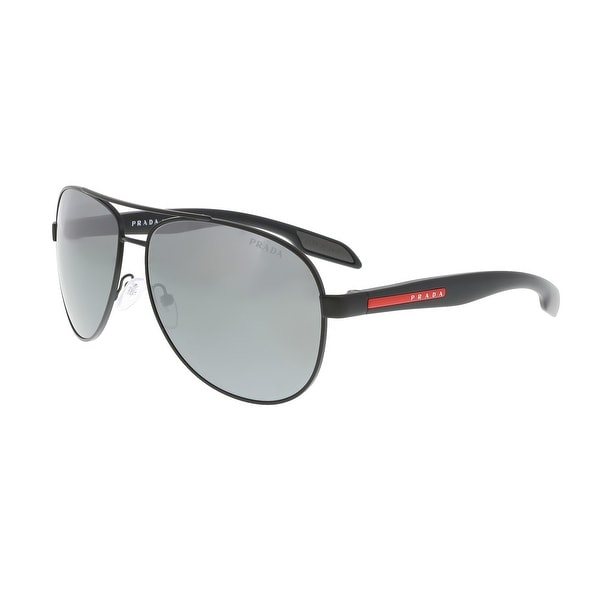 caeecaf48ea Shop Prada PS 53PS 1BO7W1 Black Demi Aviator Sunglasses - 62-14-135 ...