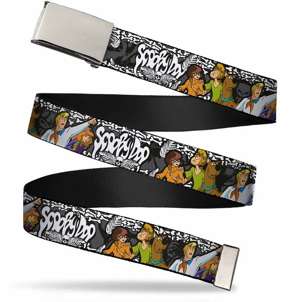 "Blank Chrome 1.0"" Buckle Scooby Doo Group Pose Bones Webbing Web Belt 1.0"" Wide"