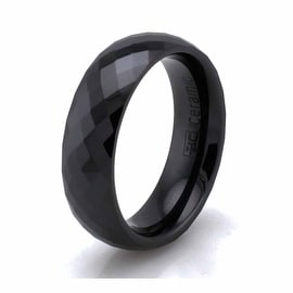 Black Ceramic 6mm Multi Faceted Stackable Ring