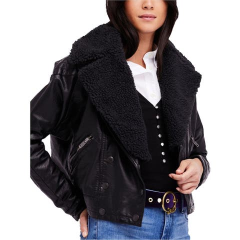 Free People Womens Haley Faux-Leather Motorcycle Jacket, black, Large